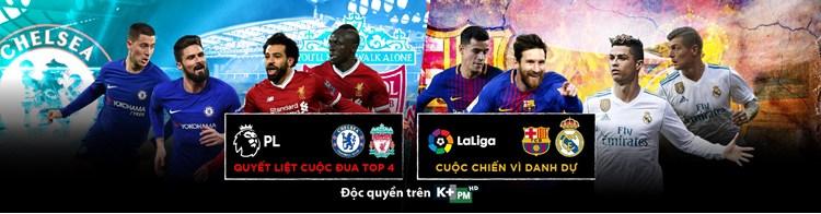 Lịch phát sóng các sự kiện thể thao tuần 19/2018 (5/5/2018 - 11/5/2018) trên các kênh K+